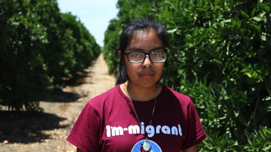 Leticia Lopez stands surrounded by orange orchards, where both her parents have worked, in Porterville, California. The daughter of migrant farmworkers from Mexico, Lopez, is a student at Porterville College and a volunteer with multiple nonprofit organizations fighting for immigrant rights and awareness. Photo taken on Monday, May 29, 2017.  (Bethney Bonilla/Peninsula Press)