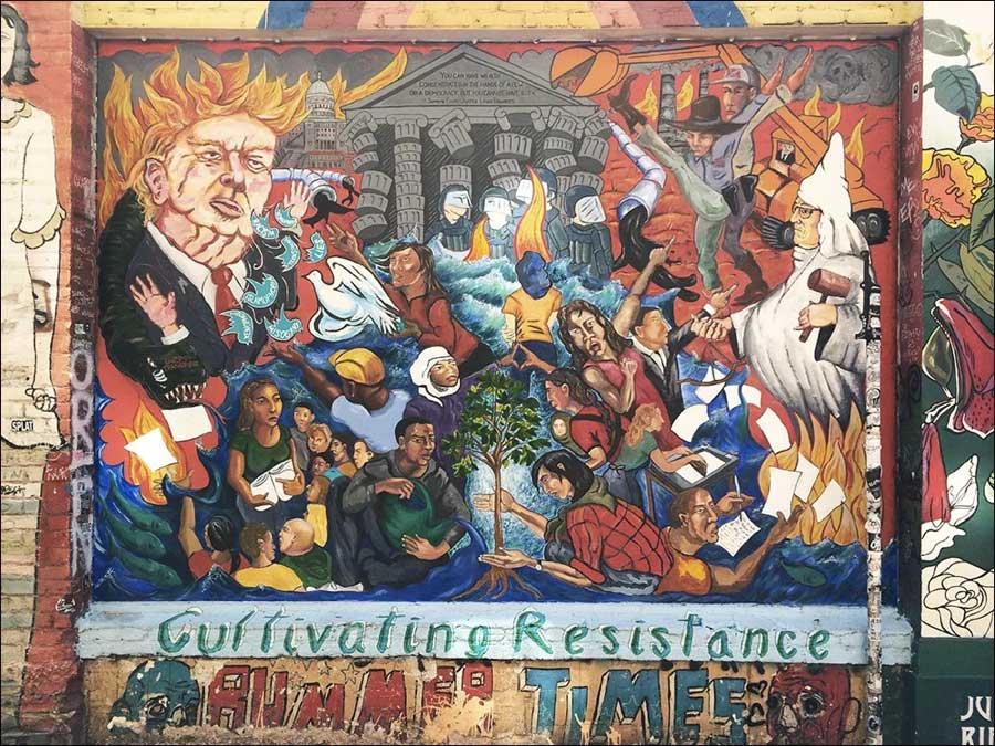 """""""Cultivating Resistance,"""" a mural in Clarion Alley by the SF Poster Syndicate. (Photo courtesy of Clarion Alley Mural Project)"""