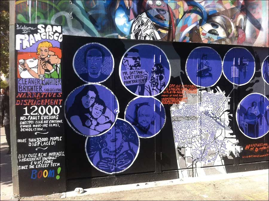 """The """"Narratives of Displacement"""" mural was created in collaboration with the Anti-Eviction Mapping Project. (Photo courtesy of CAMP)"""