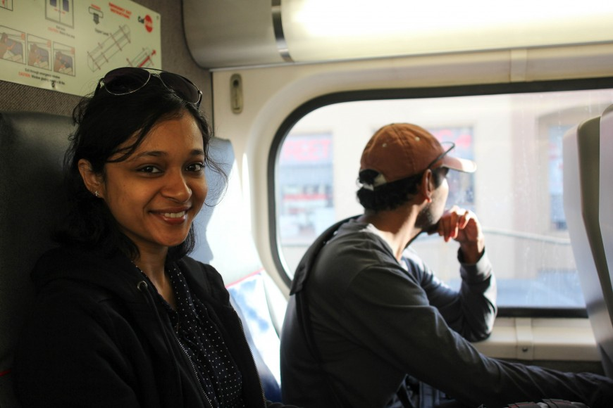 Sejal Chauhan is riding Caltrain from Sunnyvale to San Mateo for her morning commute on Sept. 29. Sejal appreciates being able to sit and read on her way to work. If she could make a wish, it would be to have Wi-Fi internet access on the train. (Charlotte Kosche/Peninsula Press)