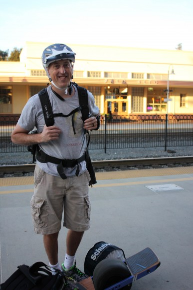 Ben Simons is waiting for the northbound Caltrain at Palo Alto station on the morning of Sept. 29. Ben is taking Caltrain today for the first time in years, because he wants to buy a new motorcycle and has to get there without a car. (Charlotte Kosche/Peninsula Press)