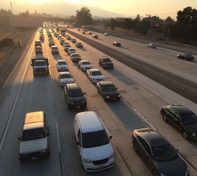 Cupertino is one of many cities in the Bay Area experiencing traffic congestion due to new offices and housing developments. (Isha Salian/Peninsula Press)