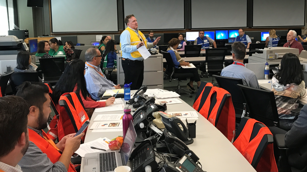 Dana Reed, Director of  the Santa Clara Office of Emergency Services conducts exercise in Emergency Operations Center. (Courtesy of the Santa Clara Office of Emergency Services)