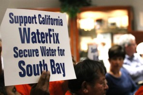 """Sign that reads, """"Support California WaterFix Secure Water for the South Bay"""""""