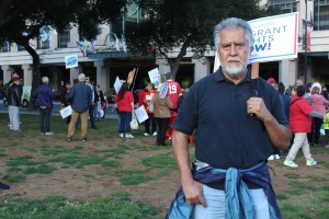 Salvador Bustamante, executive director of Latinos United for a Better America, prepares to march with San Jose residents on Oct. 19. (Isha Salian/Peninsula Press)