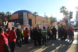 Service workers and community supporters marched in downtown San Jose Oct. 19 to demand a voice in the city's negotiations with Google. (Isha Salian / Peninsula Press)