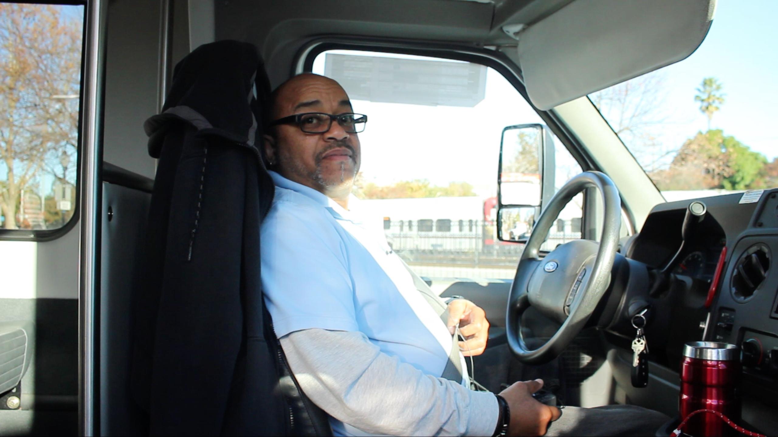 MVgo driver Jaunot Baker likes the idea of an automated transit system. (Charlotte Kosche/Peninsula Press)