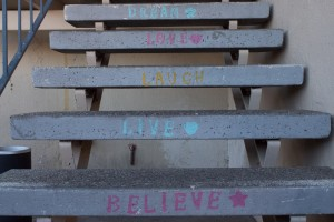 Messages of hope painted on the LifeMoves shelter staircase in Redwood City.