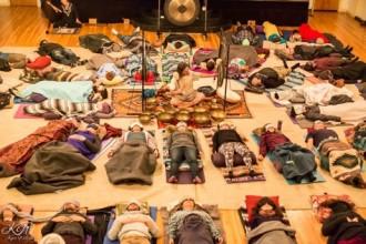 Danny Goldberg performing a sound meditation at The San Francisco Buddhist Center  (Photo Credits: San Francisco Buddhist Center)