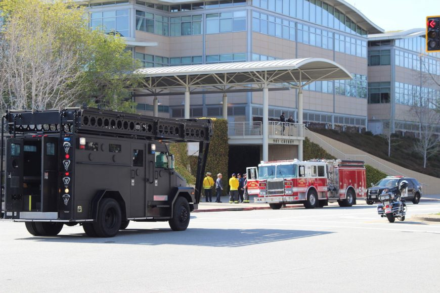 An armored vehicle parked outside of the building where a shooting occurred at YouTube's headquarters on Tuesday, April 3, 2018. (Dylan Freedman/Peninsula Press)