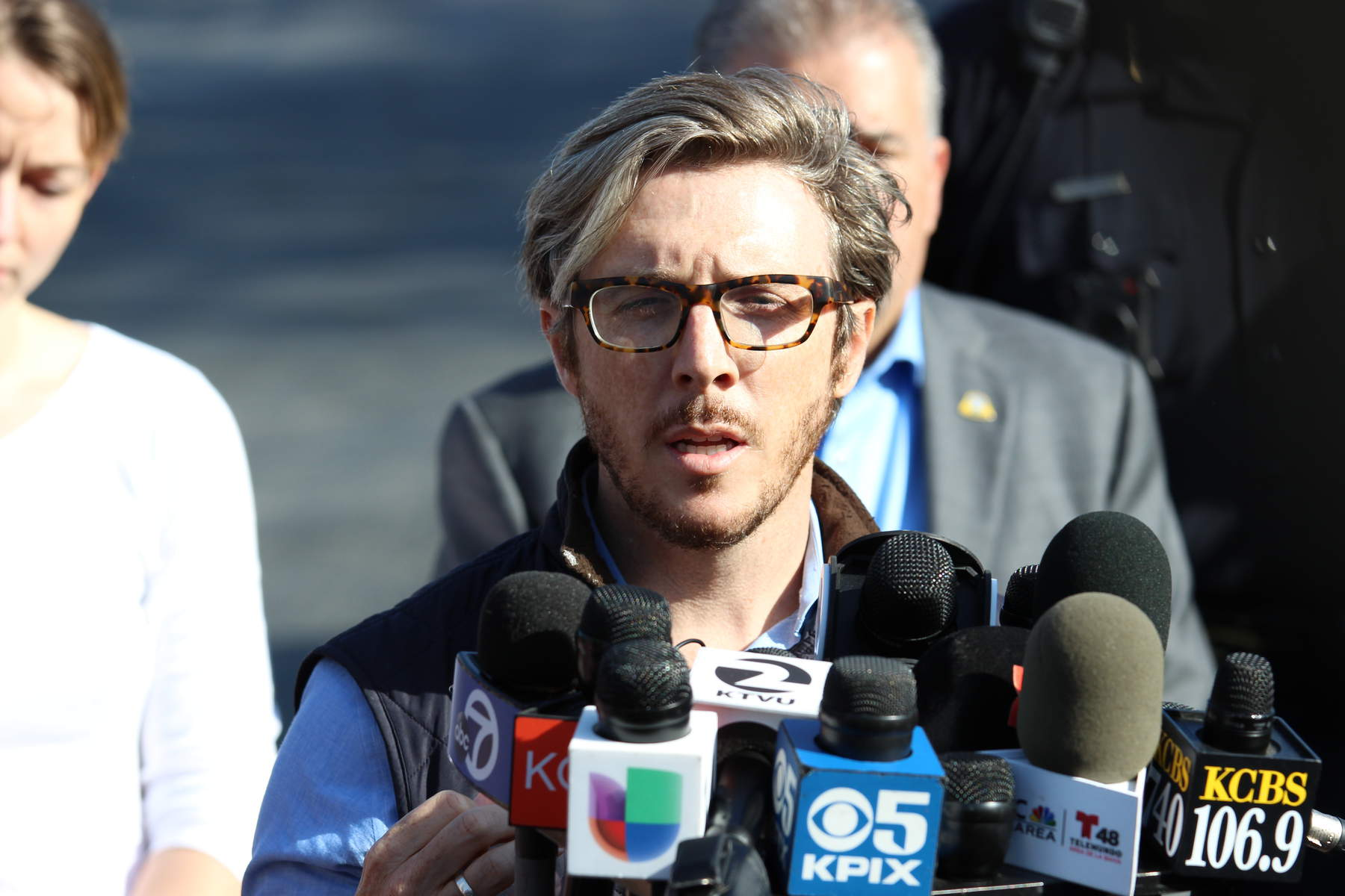 Chris Dale, head of communications for YouTube, delivers a statement from the company about the shooting on Tuesday, April 3, 2018. Three people were hospitalized from gunshot wounds. A shooting suspect died from a self-inflicted gunshot wound. (Anthony Miller/Peninsula Press)