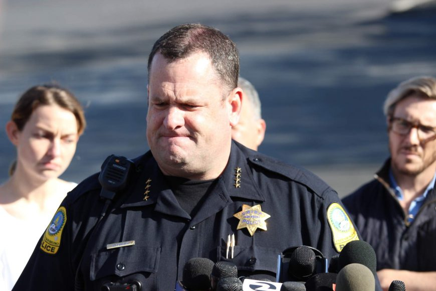 Ed Barberini, San Bruno chief of police, delivers a press briefing about the shooting outside of YouTube's headquarters (Anthony Miller/Peninsula Press)