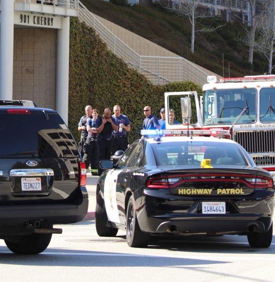 Fire officials gather after a long day attending the scene in San Bruno (Anthony Miller/Peninsula Press)