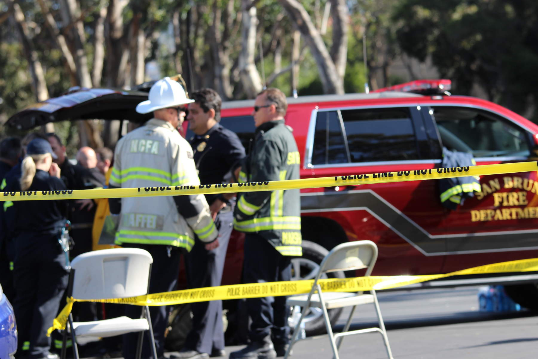 Law enforcement and fire officials near the scene of the shooting at YouTube's headquarters on Tuesday,  April 3, 2018. (Anthony Miller/Peninsula Press)