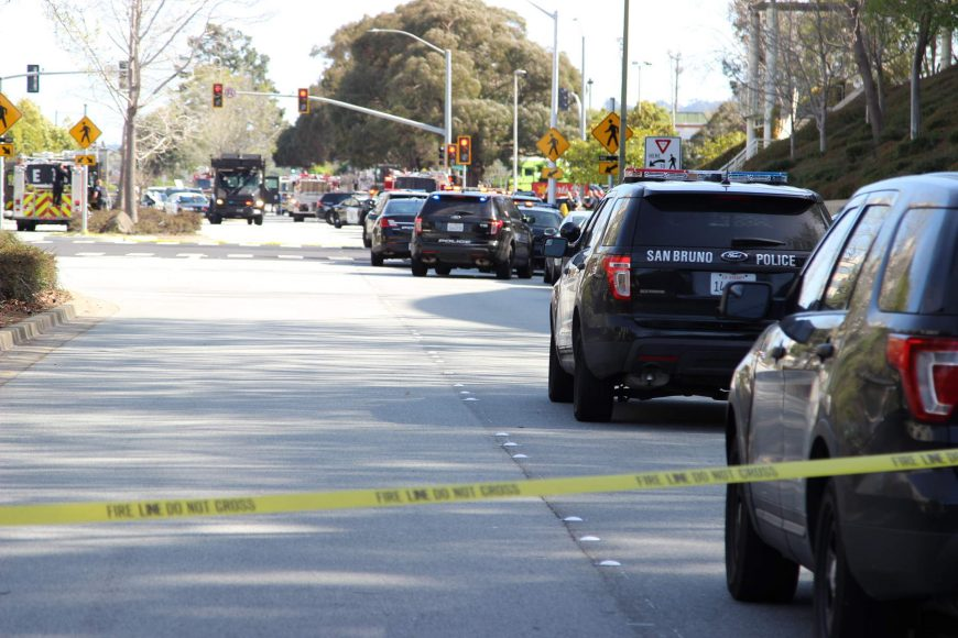 Law enforcement vehicles line Cherry Avenue outside the site of the shooting at YouTube's headquarters on Tuesday, April 3, 2018. (Dylan Freedman/Peninsula Press)