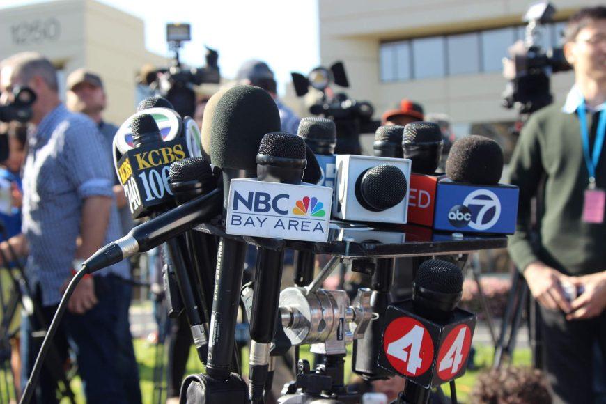 Media await a press conference regarding the shooting in San Bruno on Tuesday, April 3, 2018. (Dylan Freedman/Peninsula Press)