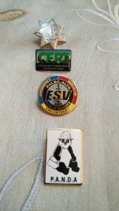 Dan Melick's pins for PANDAs, ESVs, CERT. (Amy Cruz/Peninsula Press)