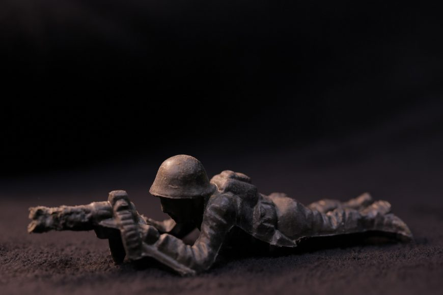 Another find from Mussel Rock: a machine gunner figure made by toy manufacturer Ajax. (Amy Cruz/Peninsula Press)