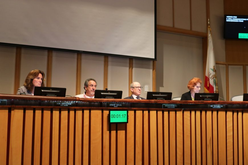 On Sept. 25, 2018, Mountain View Mayor Lenny Siegel (second from left) and the Mountain View City Council listen as Rock St. residents urge the city to prevent their complexes from being torn down. (Connor Richards/Peninsula Press)