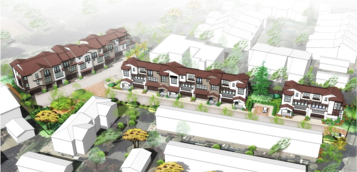 Proposed development plans for a housing project at 2005 Rock Street in Mountain View. (Photo courtesy of the city of Mountain View/Dividend Homes)