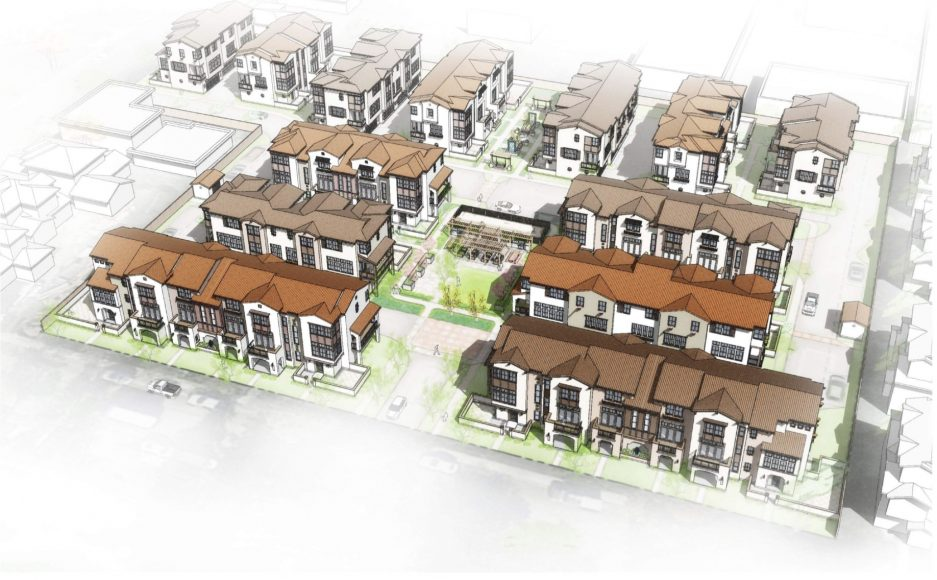 Proposed development plans for a housing project at 2310 Rock Street in Mountain View. (Photo courtesy of the city of Mountain View/Dividend Homes)