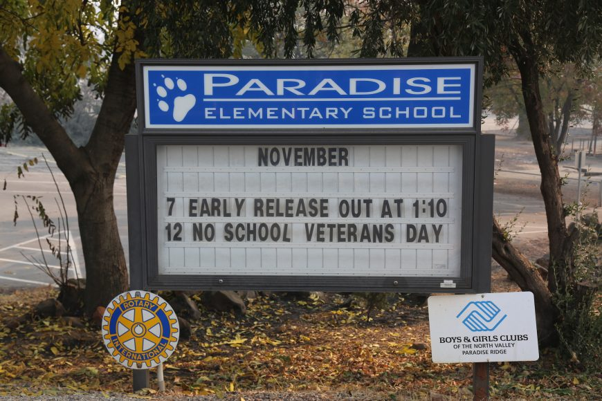 On November 8, the Camp Fire swept through Paradise.  Though its sign remains, Paradise Elementary was leveled by the blaze.  Isabella Jibilian/Peninsula Press