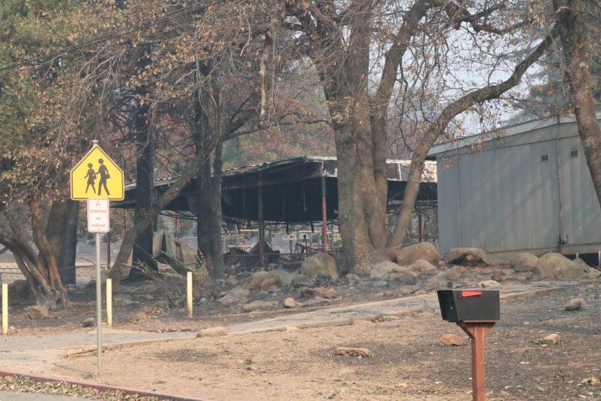A Paradise Elementary School building, hollowed by fire.  Ashlyn Rollins/Peninsula Press