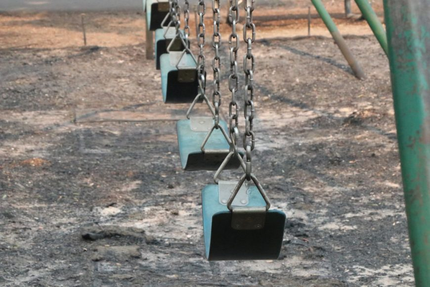 In the playground, wood chips have been replaced by black ash. Ashlyn Rollins/Peninsula Press