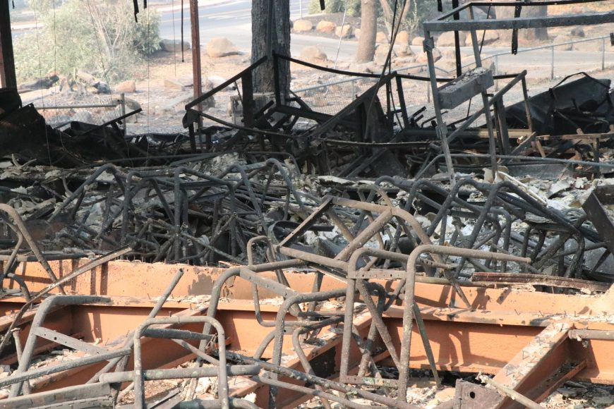 Scorched skeletons of chairs and desks were left by the Camp Fire blaze that leveled  Paradise Elementary School.  Ashlyn Rollins/Peninsula Press