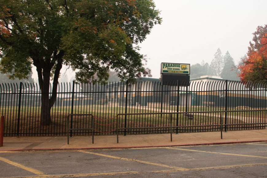Paradise High School, with an enrollment of about 1,000 students, was not burnt by the Camp Fire, but it unknown when students will be able to return. Ashlyn Rollins/Peninsula Press