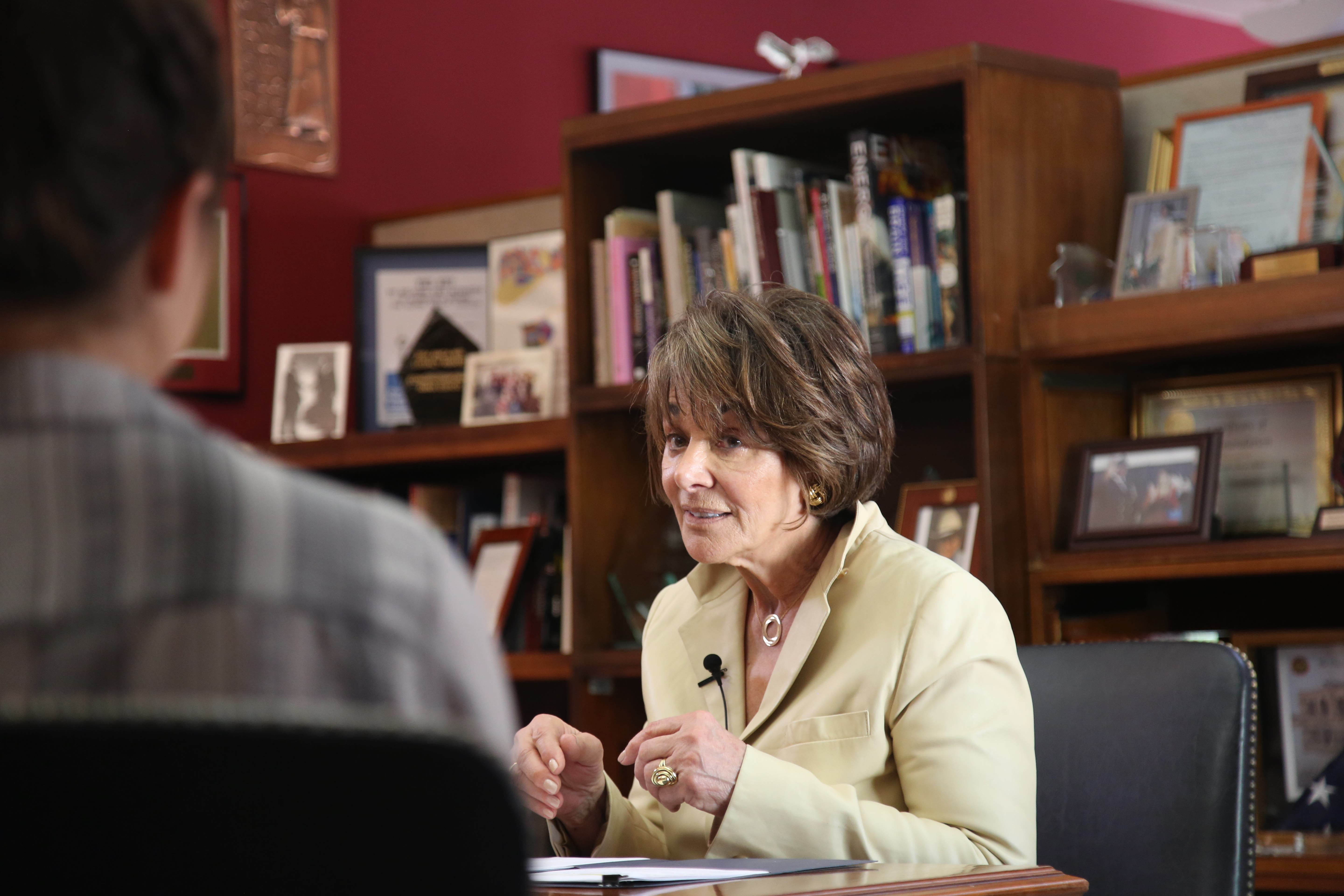 Congresswoman Anna Eshoo pauses a moment during her response to Zoë Schiffer's question on the security of the upcoming election in relation to the attempted hacking attempts in 2016. The  interview was at her Palo Alto office, Thursday, Nov. 1. (Melanie Hogue/Peninsula Press)