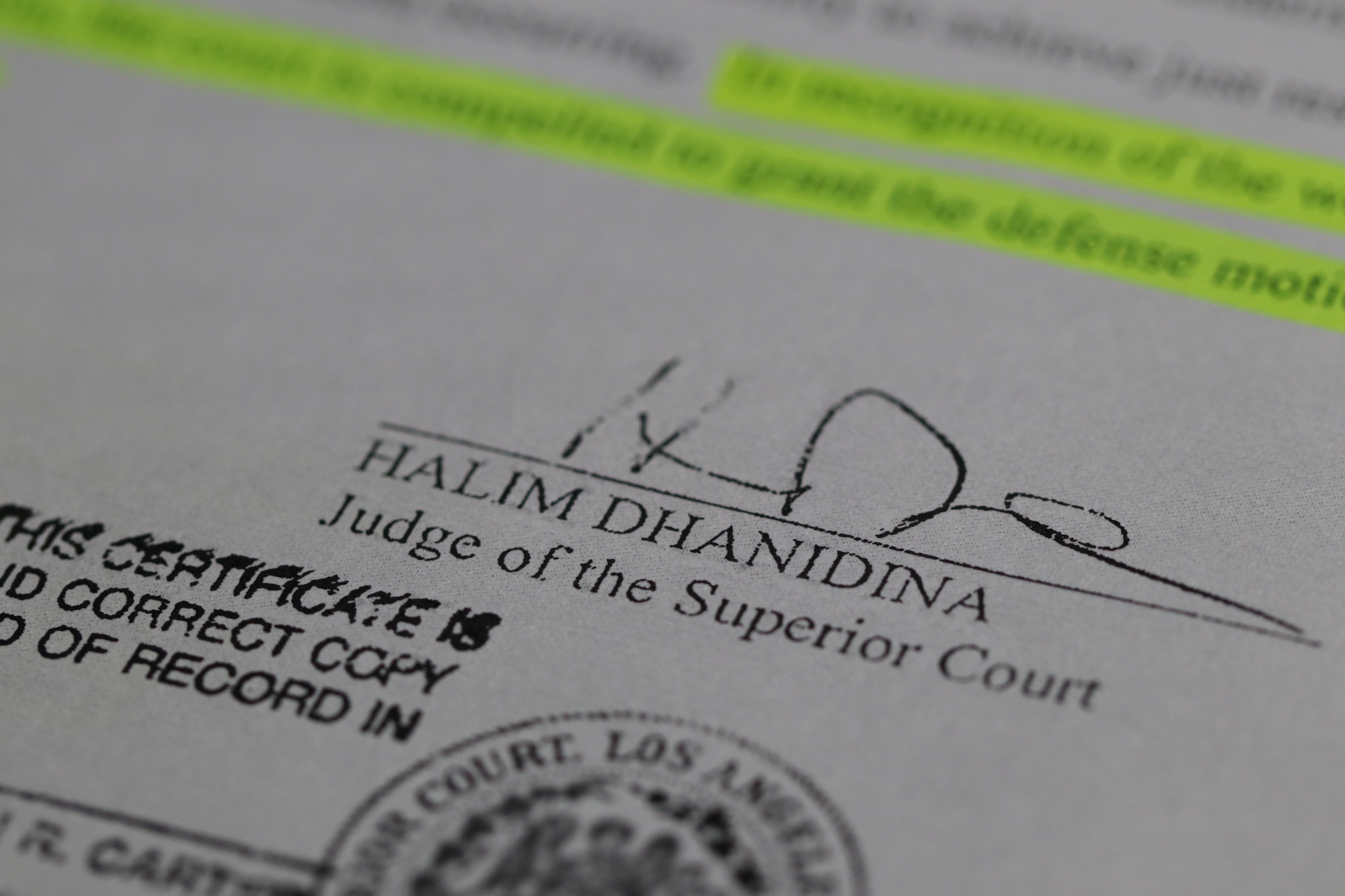 The signature of Los Angeles County Superior Court Justice Halim Dhanidina, who ruled in April 2016 that Long Beach resident Rory Moroney's 2014 arrest was discriminatory and unconstitutional. (Connor Richards / Peninsula Press)