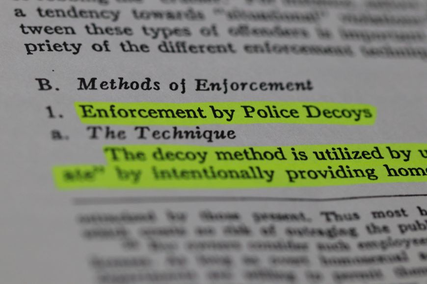 """A description of police decoy operations in a paper published in the 1965-66 UCLA Law Review titled """"The Consenting Adult Homosexual and the Law: An Empirical Study of Enforcement and Administration in Los Angeles County."""" (Connor Richards / Peninsula Press)"""