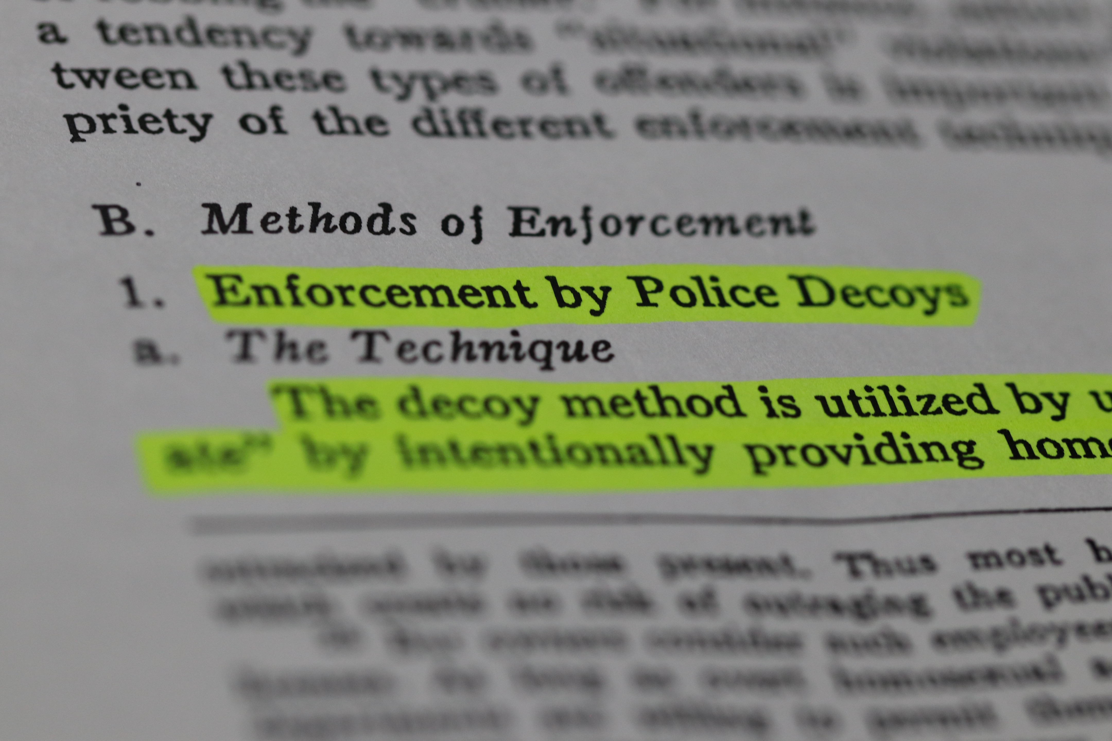 A description of police decoy operations in a paper published in the 1965-66 UCLA Law Review titled