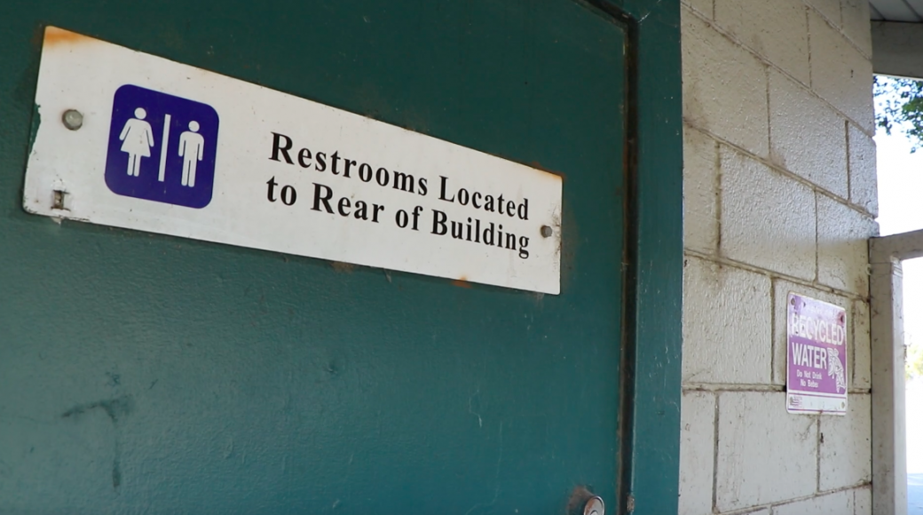 A restroom sign at Columbus Park in San Jose, where multiple men were arrested by undercover San Jose police officers in 2014 and 2015. (Connor Richards / Peninsula Press)
