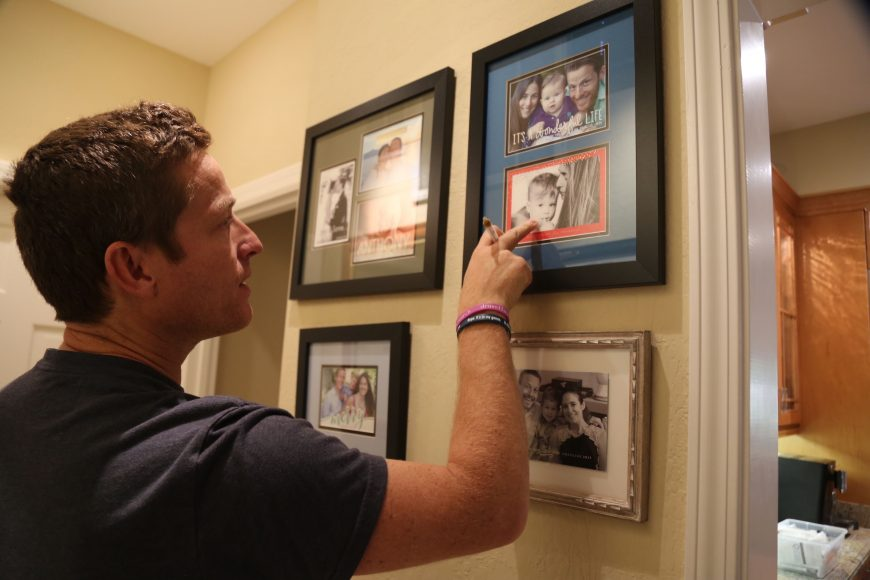 Mike Graglia shows family photos from before and after his son Tony was diagnosed with epilepsy. Isabella Jibilian/Peninsula Press