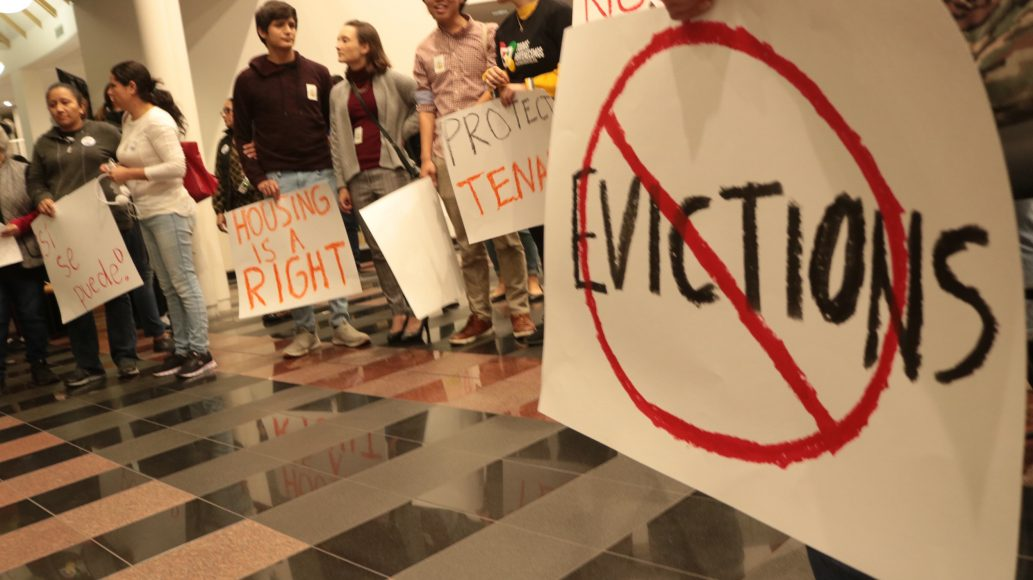 Tenants, faith leaders and tenants rights advocates gather in city hall in Redwood City, Calif. on Monday, Oct. 28, 2019. The group urged the council to pass an ordinance capping rent increases and setting just-cause eviction protections. (Amy DiPierro / Peninsula Press)