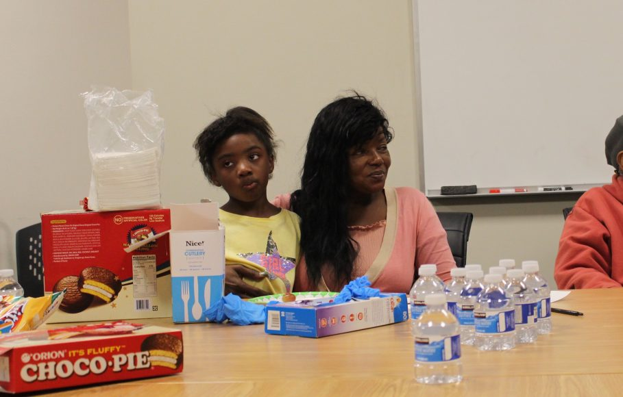 Brown listened to the attendees and shared her own story, surrounded by some of the snacks she brings for the families in San Francisco, Tuesday, Oct. 8, 2019. Her granddaughter, Maya, often accompanies her to the Circle and the accountability meetings.  (Peninsula Press/Nisa Khan)