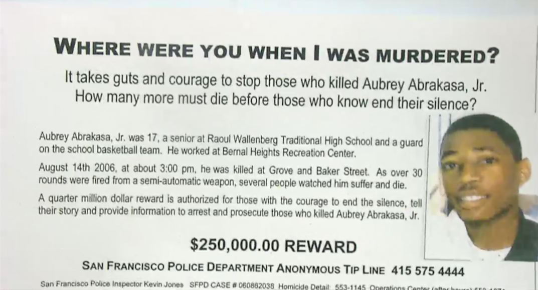 """Aubery Abraksa has a witness reward for $250,000 for anyone who has information leading to the arrest of the suspects. In the flyer, the police ask """"those with the courage to end the silence"""" to come forward. (San Francisco Government TV)"""