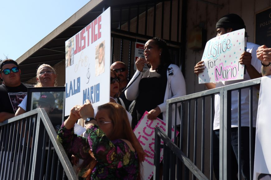 """Mayor of East Palo Alto Lisa Gauthier addresses the crowd outside the East Palo Alto Police Department following the march. """"Somebody was in the room when this happened,"""" she said. """"And they're staying quiet. I don't understand how you stay quiet and watch a mother in pain."""" Sunday, Oct. 13, 2019. (Astrid Casimire/Peninsula Press)"""
