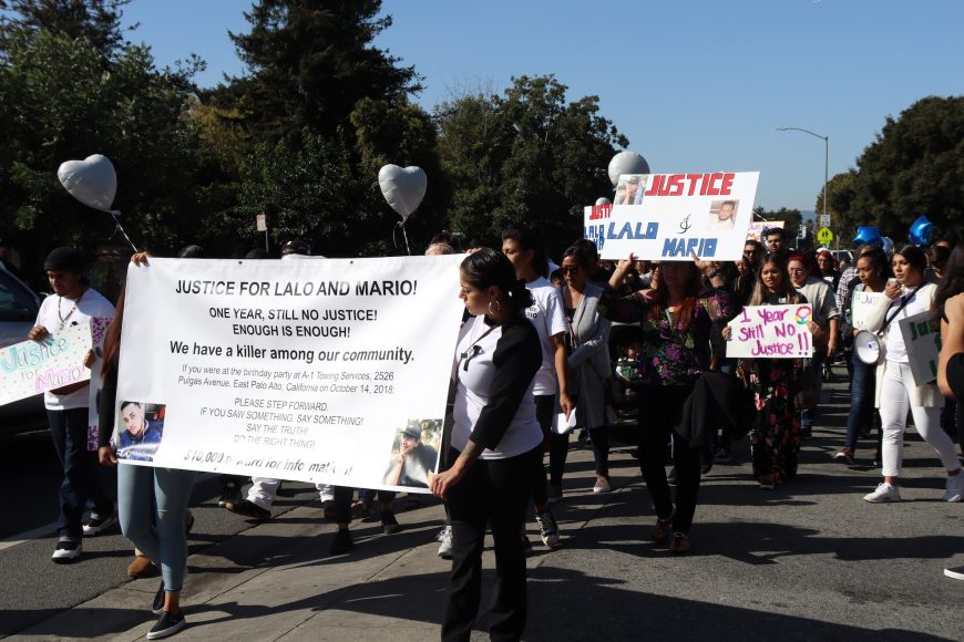 East Palo Alto community members march for justice on Bay Road, East Palo Alto, Calif., Sunday, Oct. 13, 2019. (Astrid Casimire/Peninsula Press)