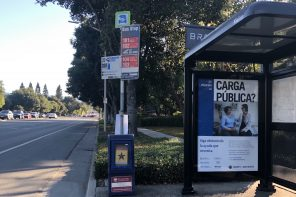 A billboard about the public charge rule at a bus stop on Page Mill Road in Palo Alto, Calif. on Oct. 5, 2019. The billboard directs people concerned about the proposed rule to call a San Mateo County help line.