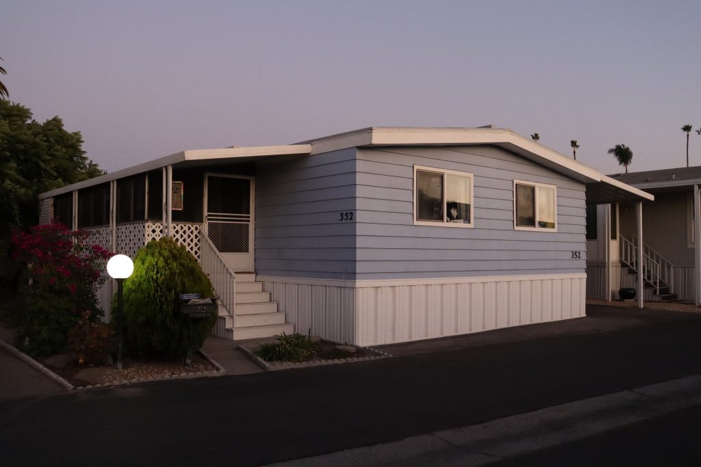 Beelia Hanson's home in Santiago Villa, a mobile home park in Mountain View. Mobile homes -- not RV vans -- are not subject to Mountain View's rent stabilization act.