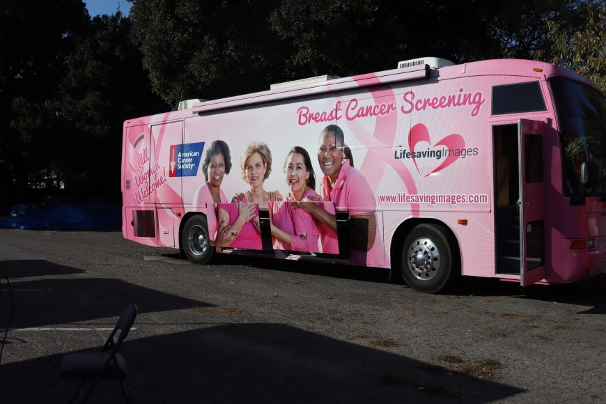 This pink mobile unit is home to a breast cancer screening clinic where residents of East Palo Alto can receive screening images at no cost. The clinic is a partnership between Life Saving Images Inc and the American Cancer Society. (Astrid Casimire/Peninsula Press)
