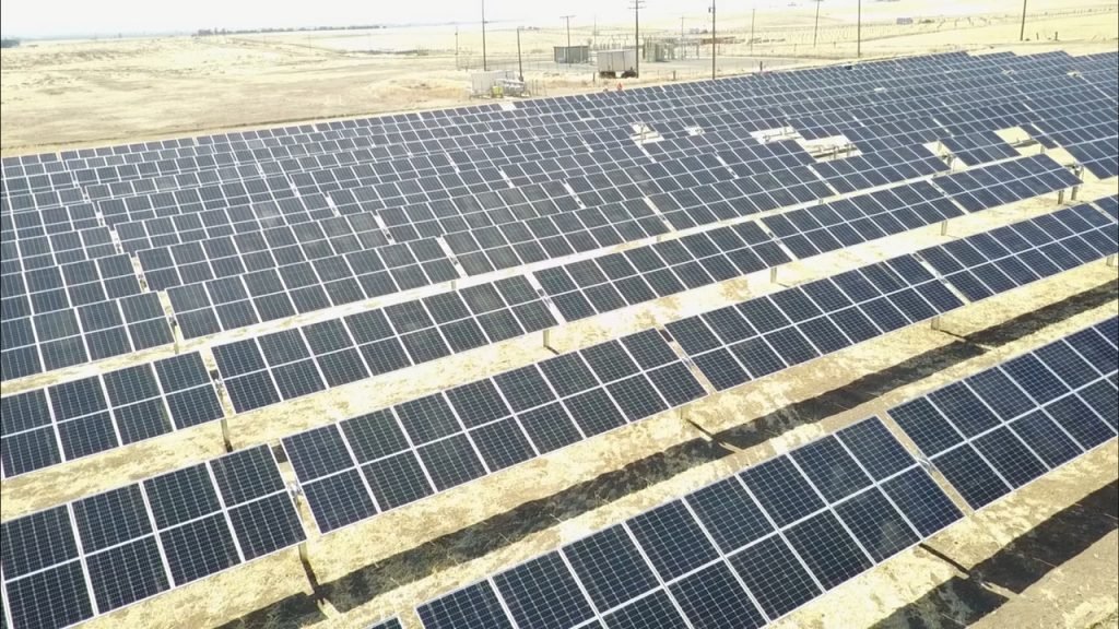 Solar panels at the Wright Solar Facility in Los Banos