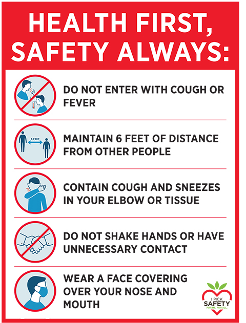 A poster, in both English and Spanish, describes how to prevent the spread of Covid-19. The California Strawberry Commission created and distributed this poster and recommends that employers put it at the entry of their farms. (Courtesy of California Strawberry Commission).