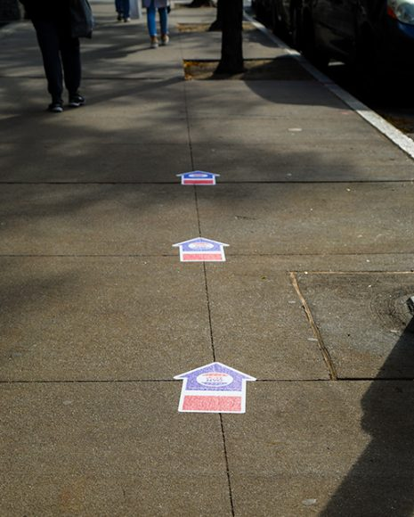 Socially distanced signs guide voters to the polls, a stark reminder of the COVID-19 pandemic that has dominated the 2020 election cycle. (Iman Floyd-Carroll/Peninsula Press)