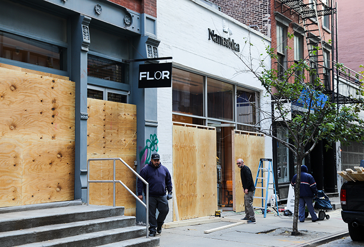 A year marked by protest and civil unrest, NYC businesses boarded up commercial storefronts on Nov. 3, 2020 in anticipation of acts of looting as a result of a possible contentious election outcome. (Iman Floyd-Carroll/Peninsula Press)