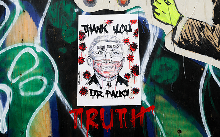COVID-19 continues to devastate the U.S. and has claimed the lives of 233,000 individuals as of Nov. 3. A flyer with a tribute to Dr. Fauci – Truth Matters adorns a wall. (Iman Floyd- Carroll/Peninsula Press)