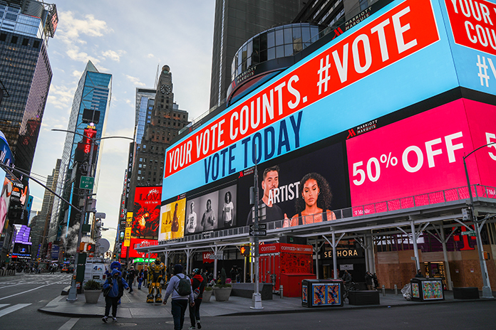 A billboard in Times Square encourages pedestrians to cast their vote on Election Day. (Iman Floyd-Carroll/Peninsula Press)